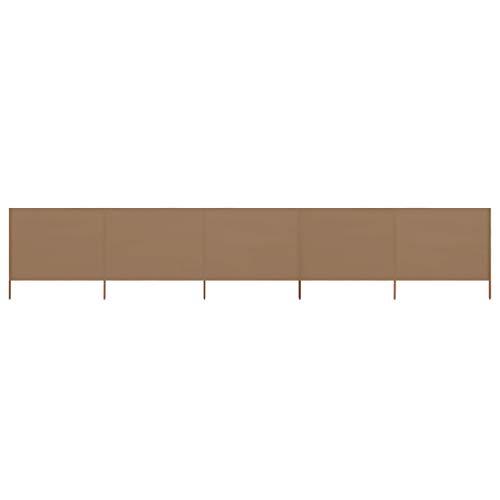 vidaXL Paravent 5 Panneaux Ecran de Plage Anti-Vent Abri de Plage Pare-Vue Coupe-Vent Camping Jardin Pliable Extérieur Tissu 600x80 cm Taupe