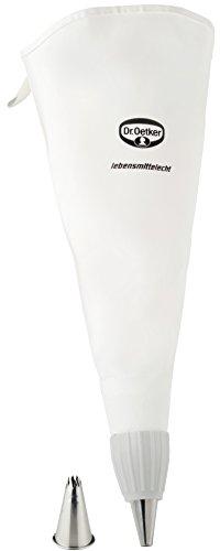 Dr. Oetker Spritzbeutel Baumwolle 34 cm, zwei hochwertige Edelstahl-Tüllen inklusive, Backzubehör zum Dekorieren und Verzieren, weiß