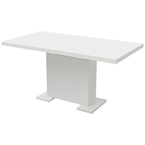 LINWXONGQP Material: MDF + Acero Mesa de Comedor Extensible Blanco Brillante