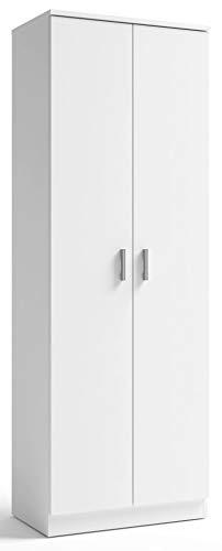 Armario Zapatero 2 Puertas 6 estantes Blanco Auxiliar Pasillo habitación Almacenamiento 171x60x35 cm