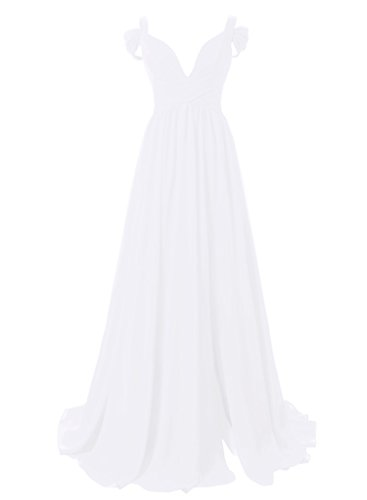 Dressytailor Women's Sweetheart Off-The-Shoulder Long Chiffon Bridesmaid Dress Evening Gown White