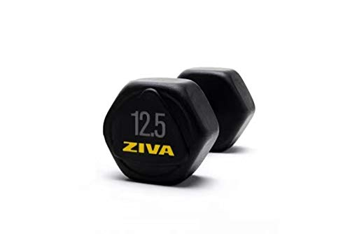 ZIVA Performance Hex Dumbbell 12.5 Kg Mancuerna, Unisex Adulto, Negro/Amarillo, Talla única