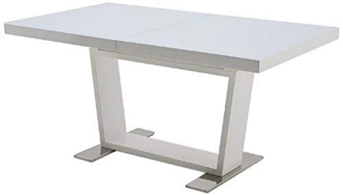 Robas Lund Manhattan Table à rallonge, MDF laqué Brillant/Verre/Acier satiné, Blanc, 160 x 90 x 76 cm