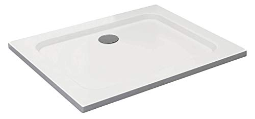 VILSTEIN Duschwanne 80 x 100 x 5 cm, sehr Flach, Duschtasse mit Gefälle, Sanitär-Acryl, Glasfaser verstärkte Wanne, DIN-Anschluss, Form: Rechteck, Weiß, Schneeweiß Hochglanz - ohne Ablaufgarnitur