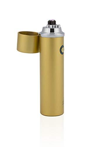 TESLA Lighter T02 Lichtbogen Feuerzeug, Plasma Double-Arc, elektronisch wiederaufladbar, aufladbar mit Strom per USB, ohne Gas und Benzin, mit Ladekabel, in edler Geschenkverpackung Matt-Gold