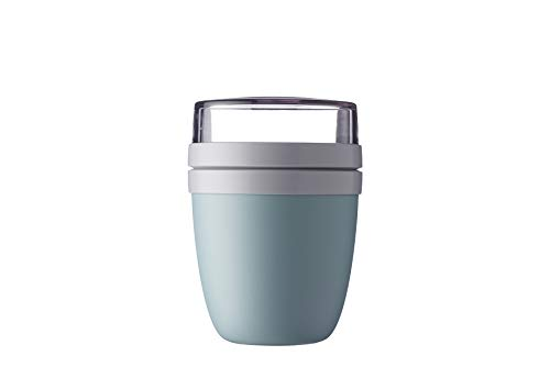 Lunchpot Ellipse Nordic green – 500 ml praktischer Müslibecher, Joghurtbecher, To go Becher – Geeignet für Tiefkühler, Mikrowelle und Spülmaschine