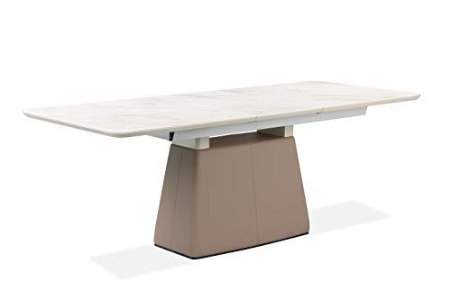 Meubletmoi - Mesa de comedor extensible 160/205 cm con tablero de cerámica blanco mármol y pie de imitación marrón – Austin