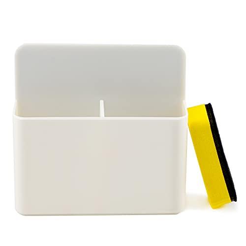 LUTER 1 Paquete Soporte de Marcador Magnético con Borrador para Escuela, Oficina, Hogar, Pizarras Blancas (Blanco)