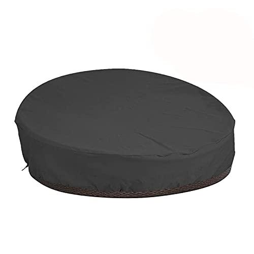 Funda redonda para sofá de patio, cubierta de muebles de jardín con bolsa de almacenamiento, Oxford impermeable a prueba de polvo para sofá de cama de día de ratán (negro)