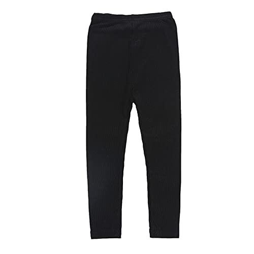 Pantalones de otoño e Invierno Keep Warm Girl Pantalones elásticos de Punto Leggings, Negro, 100