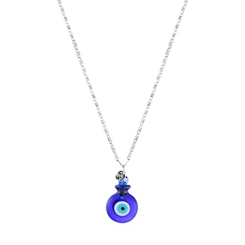 Colar Difusor De Óleo Essêncial Para Aromaterapia Pessoal - Olho Grego Azul - Cristal Murano.