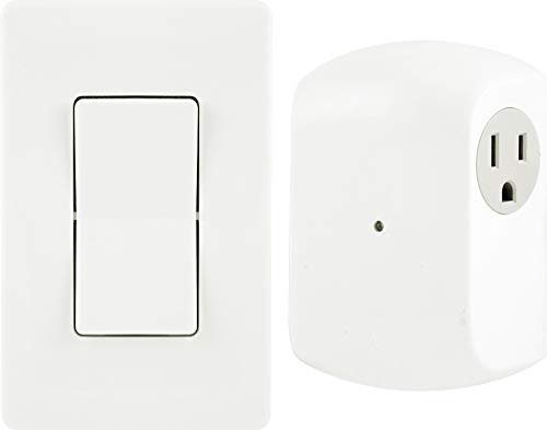 GE Wireless Remote Wall Switch Control No Wiring Needed 1 Grounded Outlet Off White Paddle Plugin Upto 100ft Range Ideal for Indoor Lamps Small Appliances and Seasonal Lighting 18279 Other