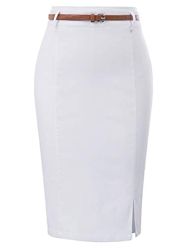 Kate Kasin Women's Slit Pencil Skirt Solid Color Wear to Work Size 2XL White