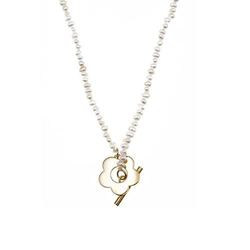 Shangwang - Pulsera de plata de ley 925 con perla de agua dulce, diseño de flor