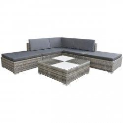 vidaXL 15piezas Jardín sofá conjunto poli ratán gris