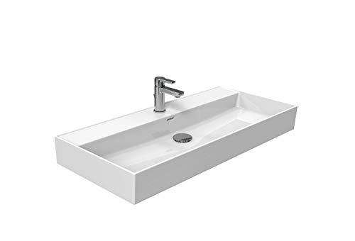 Aqua Bagno | Waschbecken im modernen Loft Air Design | Eckig | Wand-Waschbecken | Möbelwaschtisch | Waschtisch aus Keramik | Weiß | 1012 x 465 x 120 mm
