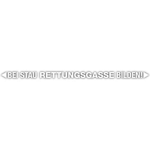 Bei Stau Rettungsgasse bilden! Auto-Aufkleber in weiß I 80 cm breit I freistehender Folienplott für PKW Anhänger Wohnwagen wetterfest I hin_565