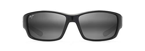 Maui Jim Local Kine con lentes polarizadas patentadas PolarizedPlus2, gafas de sol polarizadas, negro brillante/gris/granate/gris neutro polarizadas, grande