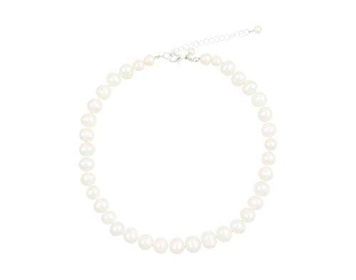 Feliss Kette Damen Halsketten für Frauen Perlenkette Weiß ohne Anhänger 45 cm lang mit echten Süßwasserzuchtperlen Schmuck Geschenk für Freundin Mama Geburtstag Ideen Necklace Collier silber