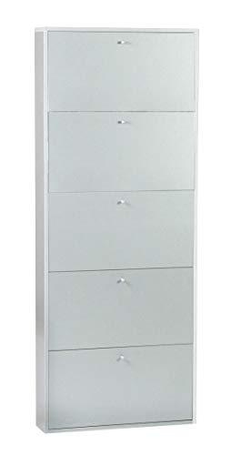 DMORA - Zapatero con 5 Compartimentos, de Laminado Color Blanco Mate, 65 x 164 x 16 cm, Puede Contener hasta 15 Pares de Zapatos, único