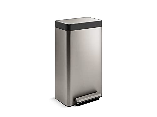KOHLER 8 Gallon Tall Hands-Free Kitchen Step Can, Trash Can with Foot Pedal, Quiet-Close Lid, Stainless Steel, K-20941-ST