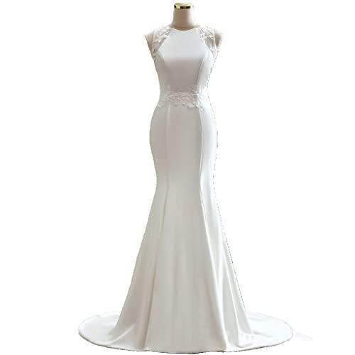 YQ&TL Novia Satín Vestido de Novia Sirena Cintura del Imperio sin Mangas Vestidos de Ceremonia y Eventos para Mujer White US:2