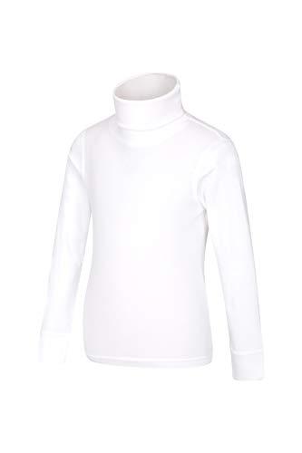 Mountain Warehouse Camiseta de algodón con Cuello Vuelto Meribel para niños, Invierno Blanco 5-6 Años