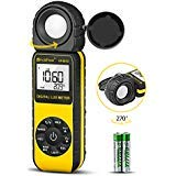 HOLDPEAK Digital Light Meter HP-881D with 0.01-400,000 Lux /1-40,000 FC Measuring Ranges and 270° Rotatable Detector for LED Lights and Plants Lumen Meter