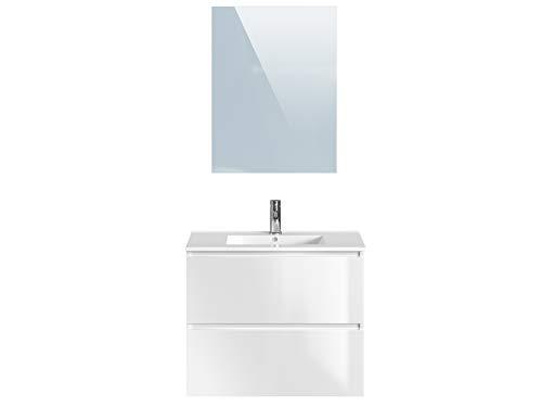 Marchio Amazon -Movian Dive - Mobile bagno con specchio e lavandino, 81 x 46,5 x 68 cm, colore bianco