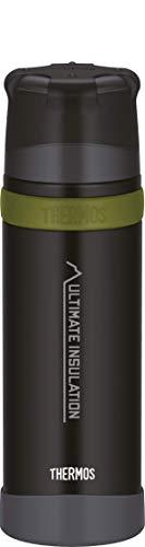 THERMOS Mountain, Thermosflasche mit Becher 750ml schwarz, Isolierflasche hält 24 Stunden heiß oder kalt, Trinkflasche absolut dicht, bruchfest, spülmaschinenfest, BPA-Frei, 4015.232.075
