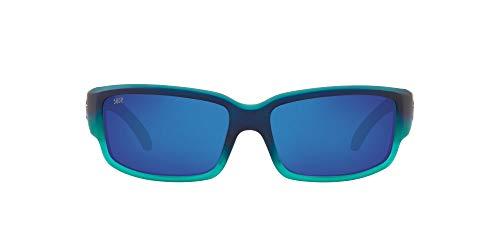 Costa Del Mar Men s Caballito Polarized Rectangular Sunglasses, Matte Caribbean Fade Grey Blue Mirrored Polarized-580P, 59 mm