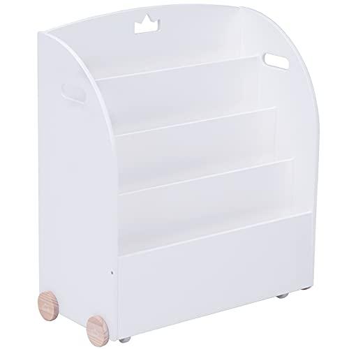 Kid Bookshelf with Wheels, White Wood Bookshelf Display Stand for Kids 1 Year Up, Baby Book Shelf/Child Bookshelf/Toddler Bookshelf/Kid Book Display/Book Shelf Case Organizer Kid Wooden