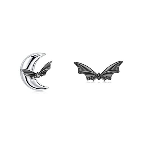 FEANG Pendientes Especiales de murciélago Negro, Plata de Ley 925, Regalo de joyería Mujeres Chicas Frescas, Accesorio Elegante para la Fiesta