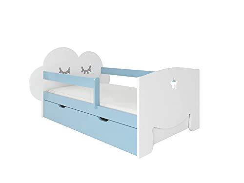 NeedSleep® Cama niño Infantil con colchón | 140x80 160 x80 | Montessori 2 años | Cama con cajones | Cama Bebe cabeceros Infantiles | Barrera Cama | Cama niña Cama niño | Nube (140x80 cm, Azul)