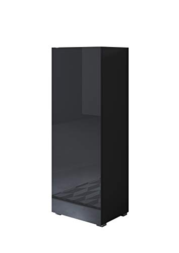 muebles bonitos Vitrina Luke V1 (40x128cm) Color Negro con Patas estándar