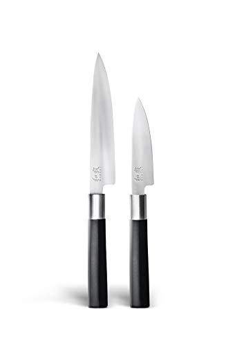 KAI Wasabi 67-W20 - Juego de cuchillos (2 unidades), color negro