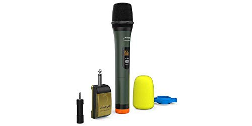 Audibax - Missouri Free Hand - Micrófono Inalámbrico Profesional Doble - 1 Micrófono de Mano - Receptor a Pilas o Powerbank - Portabilidad - Anti-Interferencias - Pilas Tipo AA-AAA