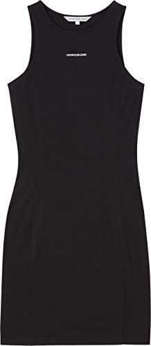 Calvin Klein Jeans Damen Micro Branding Racer Back Dress Kleid, Ck Black, S Regular
