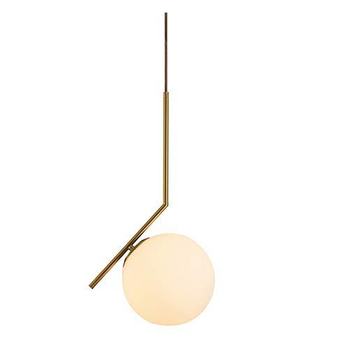 LWJDM Globo Lampada a Sospensione LED Moderna, Lampadari Regolabile in Altezza Paralume in Metallo E Vetro Illuminazione per Bar Negozio Vestiti Ristorante Soggiorno E14*1 (Senza Lampadina Inclusa)