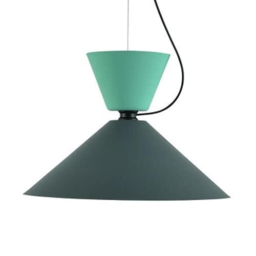 Ahzhlb Einfache Esszimmer-Pendelleuchte, schmiedeeiserne hängende Leuchten mit Hardware-Armaturen, E27-Beleuchtung, nordische kreative Aufhängungslampen für Küche, Korridor (Color : Grün)