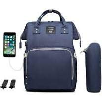 Diaper Bag with USB Interface (Navy Blue)