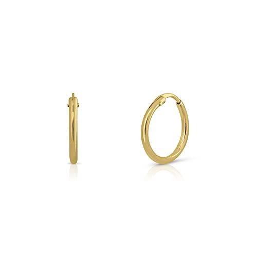 Par de MINIS aros en oro Certificado. Mujer. ARO de 7 mm tubo 1.mm (1-5115-7)
