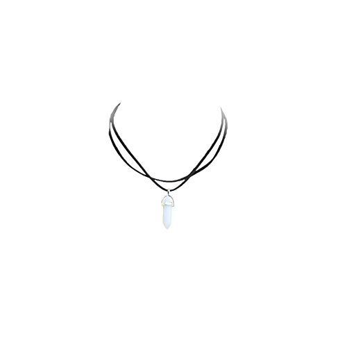 KEYkey Cristallo Esagonale di Pietra Collana Choker della Boemia della Corda del Cuoio a Catena (White Stone)