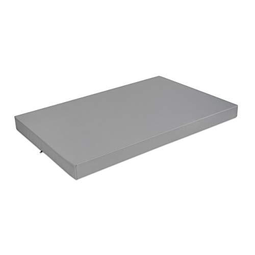 SuperKissen24. Materasso Cuscino per Bancale Divano Pallet 120x80 cm Seduta Impermeabile e Comodo per Divanetti da Esterno - Grigio