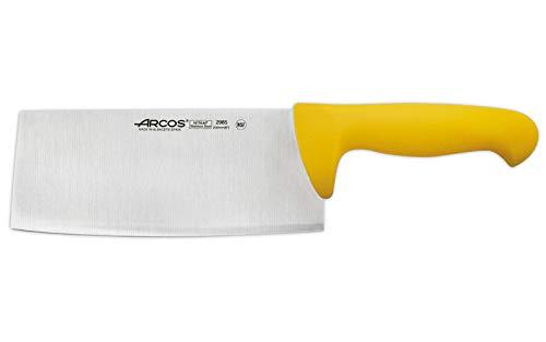Arcos Séries 2900 - Couperet Couteau de Boucher - Lame Acier Inoxydable Nitrum 200 mm - Manche Polypropylène Couleur Jaune