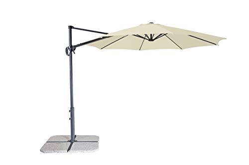 Derby Ravenna Smart 300 – Hochwertiger Ampelschirm ideal für Garten und Terrasse – Neigbar – ca. 300cm – Natur