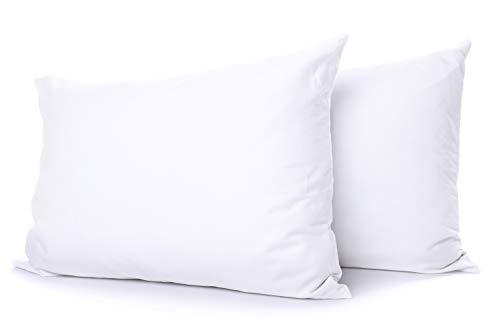 Comfort Beddings Juego de fundas de almohada de 100% algodón egipcio de 800 hilos, color blanco, cierre de sobre, estándar (50 x 75 cm)