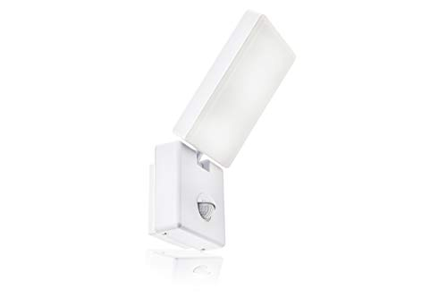 HUBER LED Wandlampe mit Bewegungsmelder 140° 10W, 800lm, IP54 LED Außenleuchte mit Bewegungssensor I Wandleuchte innen, schwenkbar, drehbar, weiß