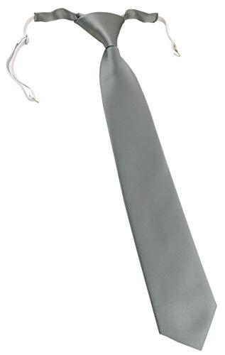 TigerTie Kinderkrawatte in grau einfarbig Uni - vorgebunden mit Gummizug in weiß