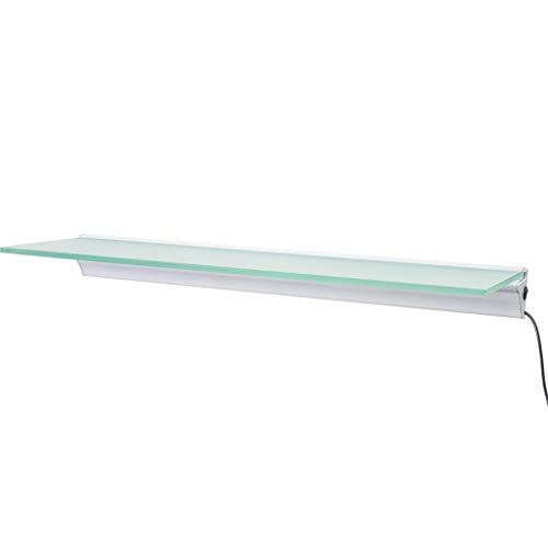 Montagefertiger Satz mit dem Treiber Glasregal mit doppeltem Aluprofil und zwei LED-Bändern Glasart Opal (warmweiß, 81 x 18 cm)